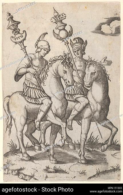 Titus and Vespanian both on horseback. Artist: Marcantonio Raimondi (Italian, Argini (?) ca. 1480-before 1534 Bologna (?)); Date: ca
