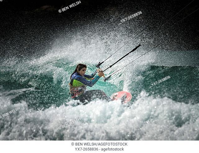 Water sport action. Tarifa, Costa de la Luz, Cadiz, Andalusia, Spain, Southern Europe