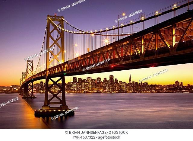 Twilight at the Bay Bridge with San Francisco beyond, California, USA