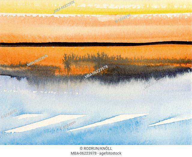 Aquarelle by Heidrun Füssenhäuser, landscape, mourning motif, meditation, condolence, Hope, 'The day has itself inclined', evening mood, evening, mood