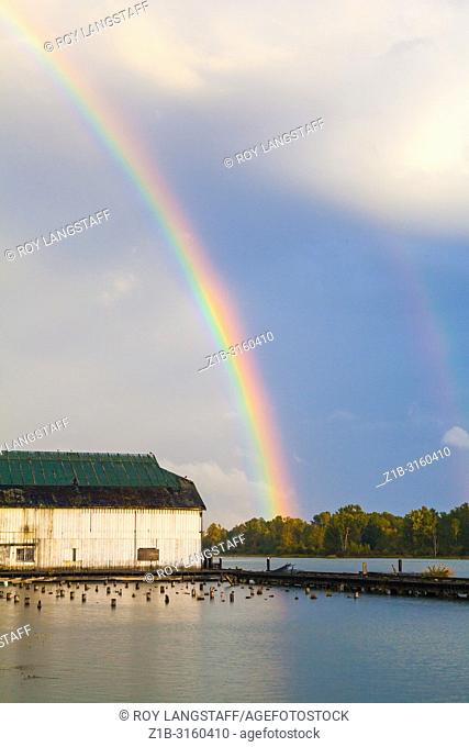 Rainbow over the Fraser River at Steveston, British Columbia