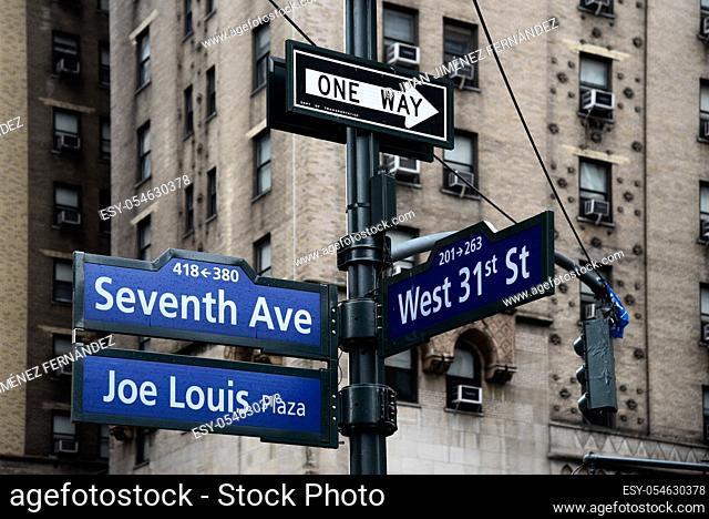Joe Louis Plaza road sign in Midtown of New York City