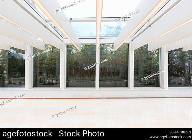 empty office with glass ceiling interior