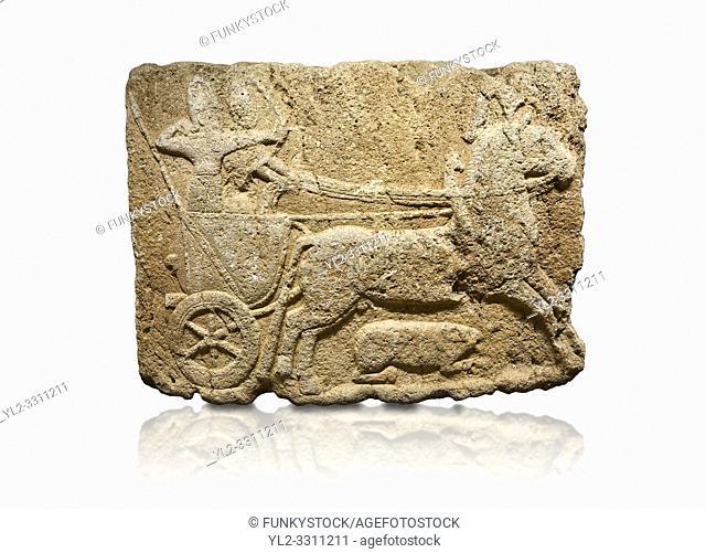 Hittite monumental relief sculpted orthostat stone panel. Limestone, Karkamıs, (Kargamıs), Carchemish (Karkemish), 900-700 B. C. Hunting carriage