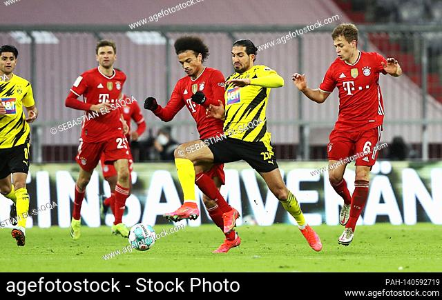 left to right Leroy SANE (M), Emre CAN (DO) and Joshua KIMMICH (M), action, duels, football 1st Bundesliga season 2020/2021, 24th matchday, matchday24