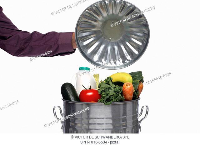 Dust bin full of fresh food, studio shot