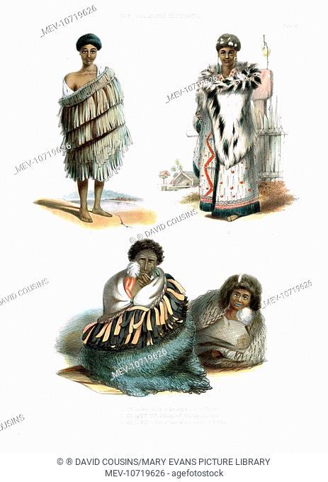 Te Maro, a boy of Waikato (top left), Te Amotutu, a young chief of the Nga-Ti-Pou tribe (top right), and Ko Tariu, a chief of Taupo