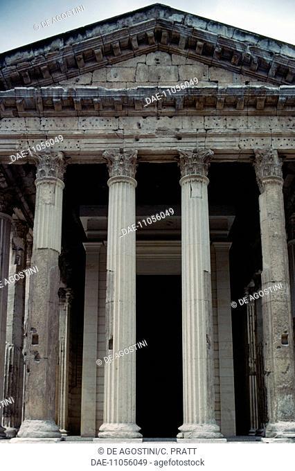 Temple of Augustus and Livia, Vienne, Auvergne-Rhone-Alpes, France. Roman civilisation, 1st century BC