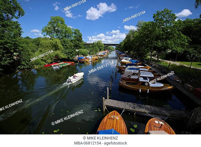 Sweden, Stockholm, boats in the channel close Langholmen