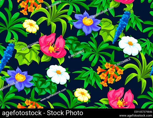 Seamless pattern with tropical flowers. Exotic tropical plants. Illustration of jungle nature