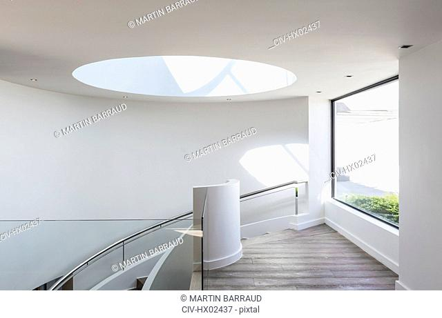 Round skylight at top of stairs in home showcase interior