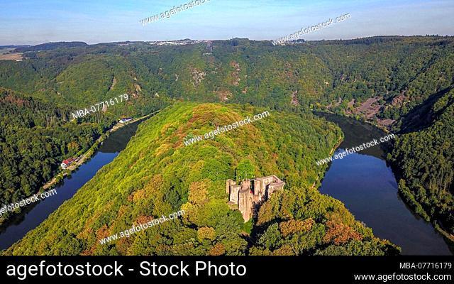 Montclair castle ruin and the Saar Loop near Mettlach, Saarland, Germany