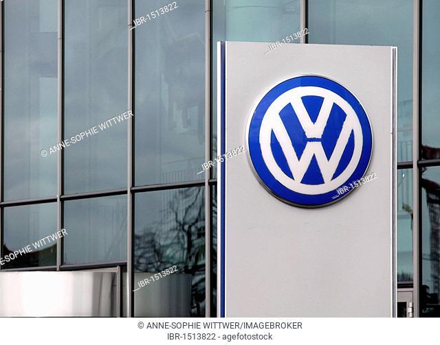 Volkswagen logo in front of the Volkswagen Arena Wolfsburg, soccer stadium, Wolfsburg, Lower Saxony, Germany, Europe