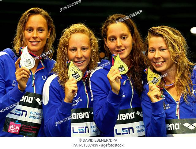 Winners Alice Mizzau, Stefania Pirozzi, Chiara Luccetti Masini and Federica Pellegrini of Italy show their Gold Medals for the women's 4x200m Freestyle at the...