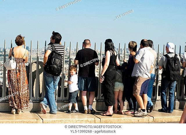 Paris, France, Outside French Monuments, Arc de Triomphe, Tourists Looking at Cityscape from Top