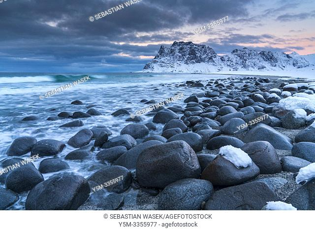 Uttakleiv Beach, Lofoten, Nordland, Norway, Europe