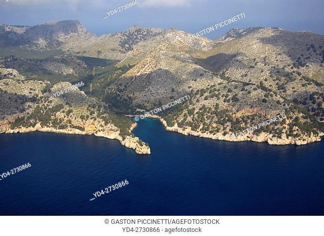Aerial view of Mallorca coast line, Balearic island, spain