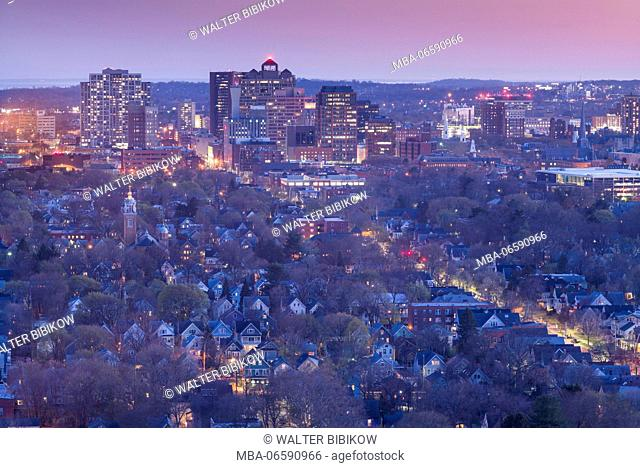 USA, Connecticut, New Haven, city skyline from East Rock Park, dusk