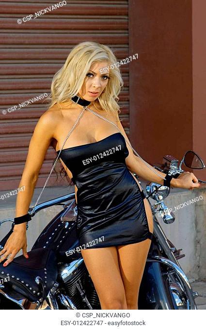 Sexy motorcycle biker girl