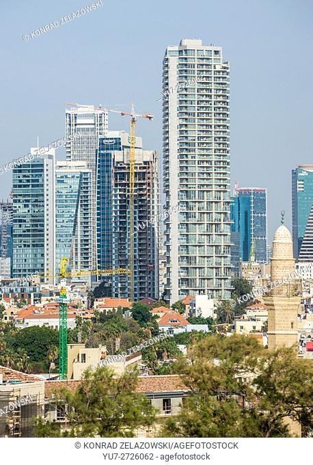 View from Abrasha park in Jaffa, Tel Aviv, Israel with Neve Tzedek Tower