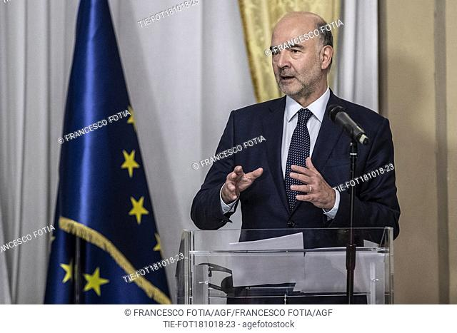 European Affairs Commissioner Pierre Moscovici during a press conference at the end of their meeting with Italy's Minister of Economy and Finances Giovanni Tria...