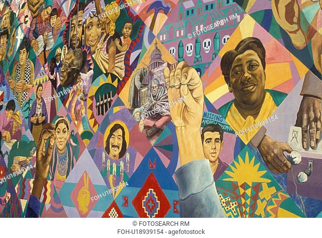 wall mural, African-American, Atlanta, GA, Georgia, The Freedom Quilt Mural, dedicated to al the men and women who have struggle towards freedom in Little Five...