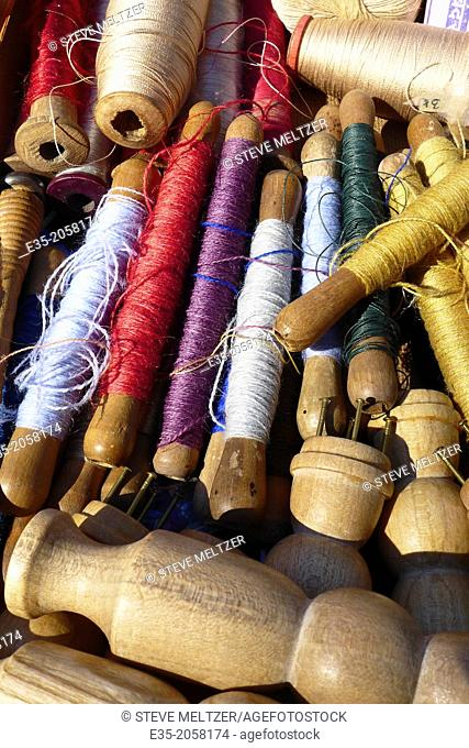 Antique spindles of thread