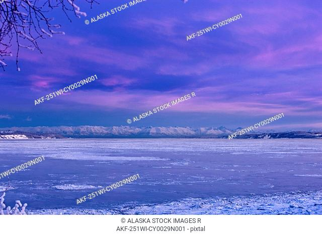 Anchorage skyline just before dawn, winter, Southcentral Alaska