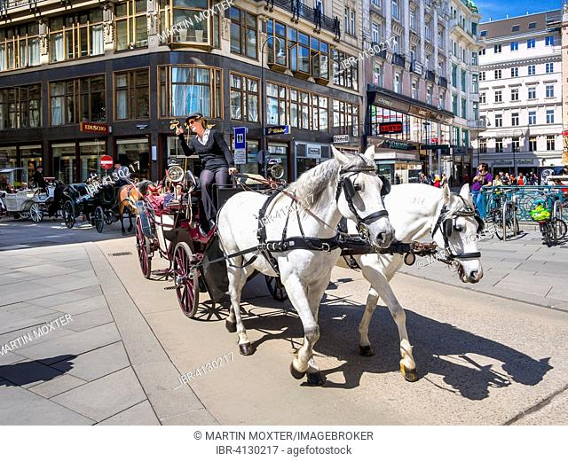 St. Peter's Square with horse-drawn carriage, First District, Vienna, Austria