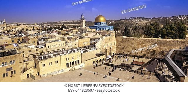 View on the Western Wall and Dome of the Rock in Jerusalem. Israel, Middle East