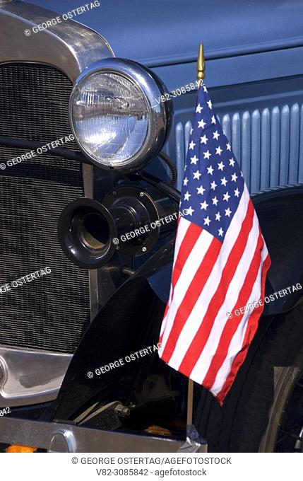 Antique car detail with flag, St Paul Rodeo Parade, St Paul, Oregon