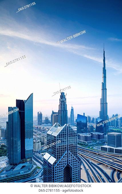UAE, Dubai, Downtown Dubai, eleavted view over Sheikh Zayed Road and Burj Khalifa Tower, world's tallest building, 2016, dawn