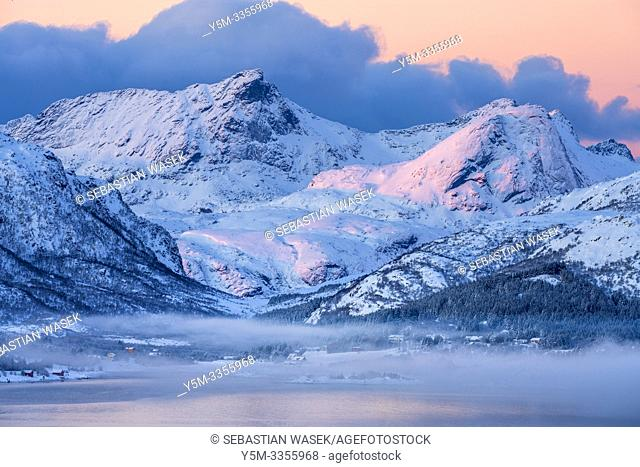 Buksnesfjorden seen from Lattershaugen near Leknes, Lofoten, Nordland, Norway, Europe