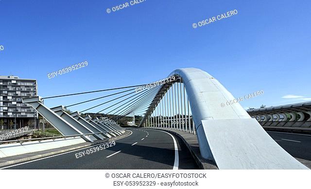 Modern bridge structure details an road