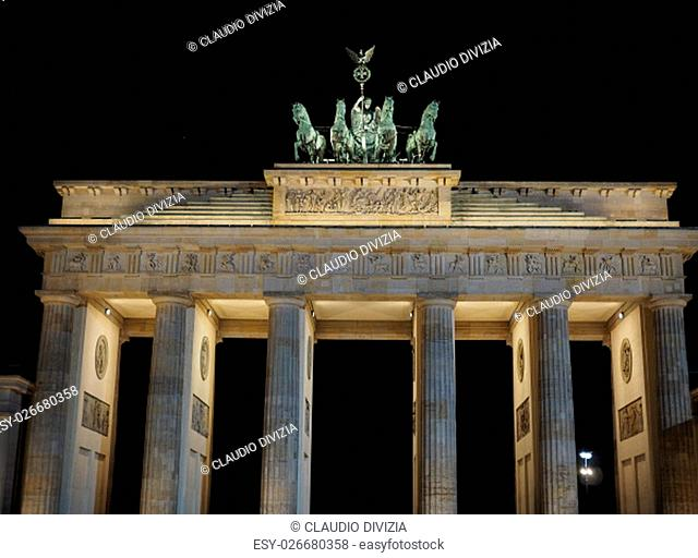 Brandenburger Tor meaning Brandenburg Gate in Berlin, Germany at night