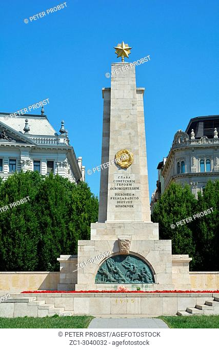 Monument the to Soviet Red Army on the Freedom Square Szabadsag ter in Budapest - Hungary