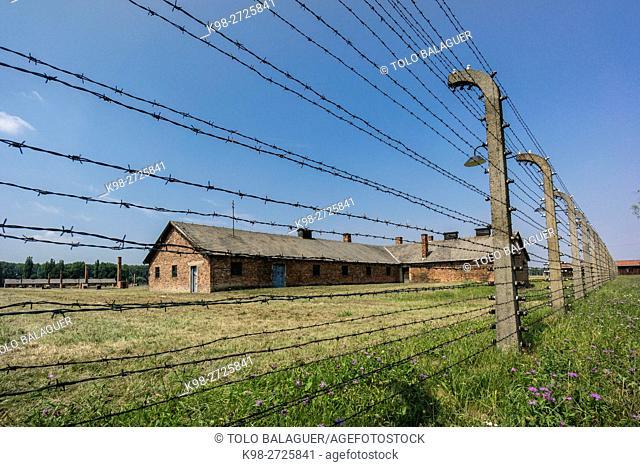 alambrada, campo de concentracion de Auschwitz-Birkenau, museo estatal, Oswiecim, Polonia, eastern europe