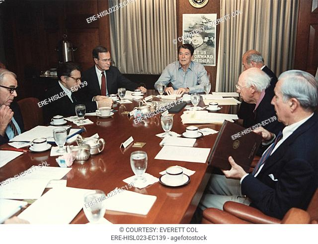 President Reagan holding a National Security Council meeting on the hijacking of TWA Flight 847 by Lebanese Shia extremists in the White House Situation Room