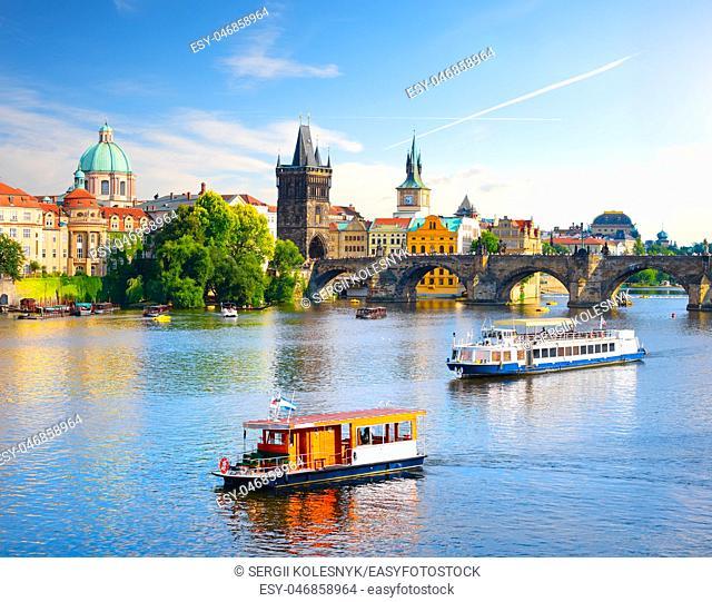 Touristic boat near the Charles bridge in Prague