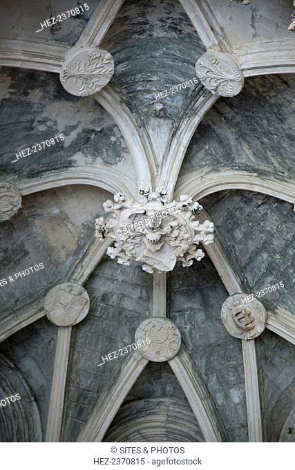 Ceiling detail, Unfinished Chapels (Capelas Imperfeitas), Monastery of Batalha, Batalha, Portugal, 2009. The Dominican Batalha Monastery (Mosteiro de Santa...