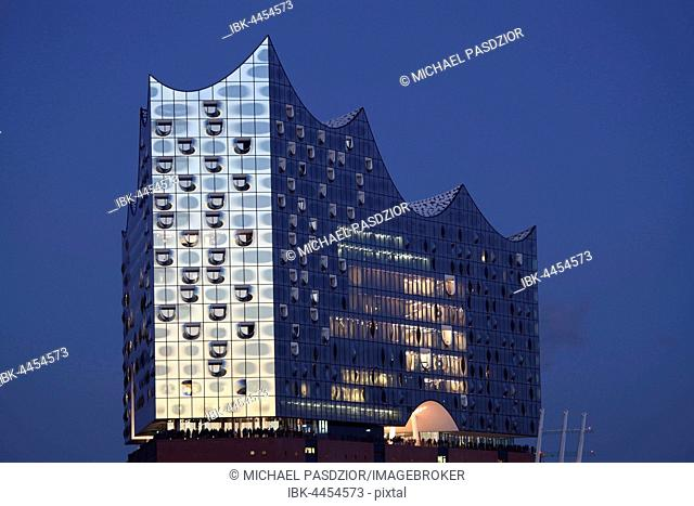 Elbphilharmonie, Glass facade, dusk, HafenCity, Hamburg, Germany