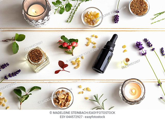 Bottles of essential oil with frankincense, wintergreen, lavender and other herbs on a white background