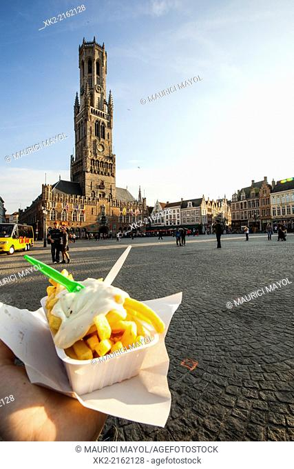 Belfort in Grote Markt of Bruges, België