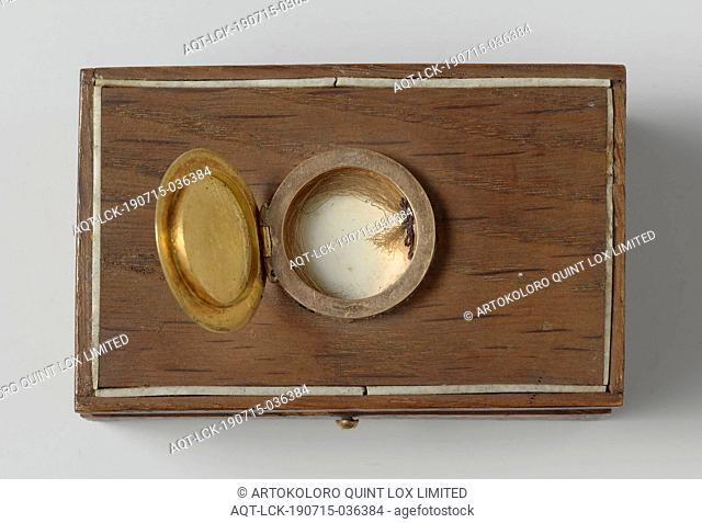 Oak box with mementos or Jan van Speijk Hair tuft from J. C. J. van Speyk, Hair tuft tied together by a blue string, Jan Carel Josephus van Speijk, anonymous