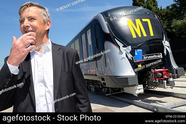 MIVB-STIB CEO Brieuc de Meeus pictured during a press conference of Brussels public transport company STIB - MIVB to present the new metro train M7