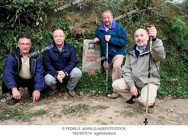 Mayors of Lugo (Xosé López Orozco), A Coruña (Javier Losada), Santiago de Compostela (Xosé Sánchez Bugallo) and Pedrafita (José Luis Raposo) on the St James Way