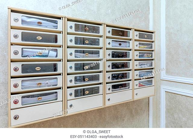 Mailboxes in modern apartment building Stock Photos and ...