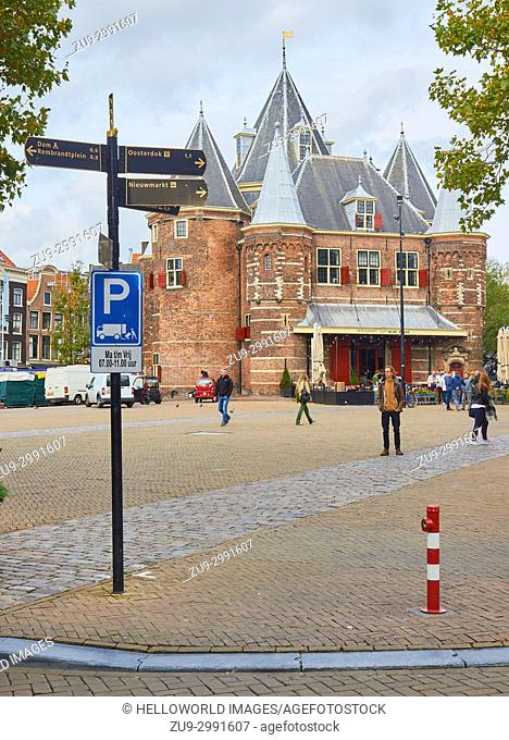 15th century (1488) Waag (Weigh House), Nieuwmarkt, Amsterdam, Netherlands. . Originally a city gate and part of the walls of Amsterdam