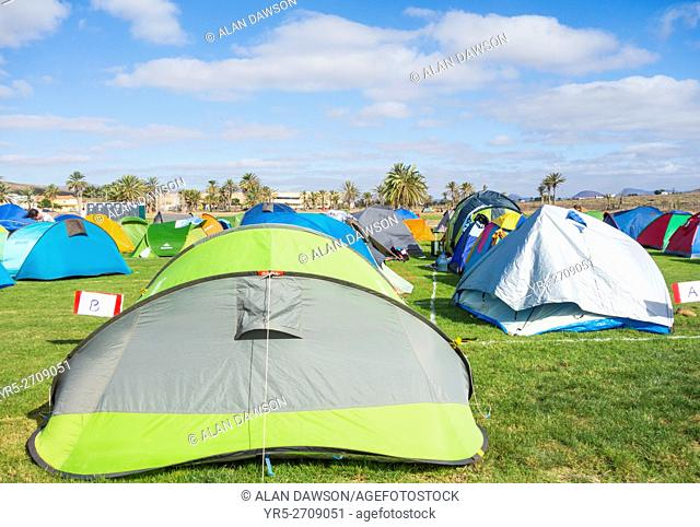 Festival campsite at WOMAD music festival at Gran Tarajal on Fuerteventura, Canary Islands, Spain