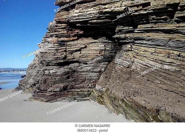 Horizontal strata on the beach of Las Catedrales, Lugo, Galicia